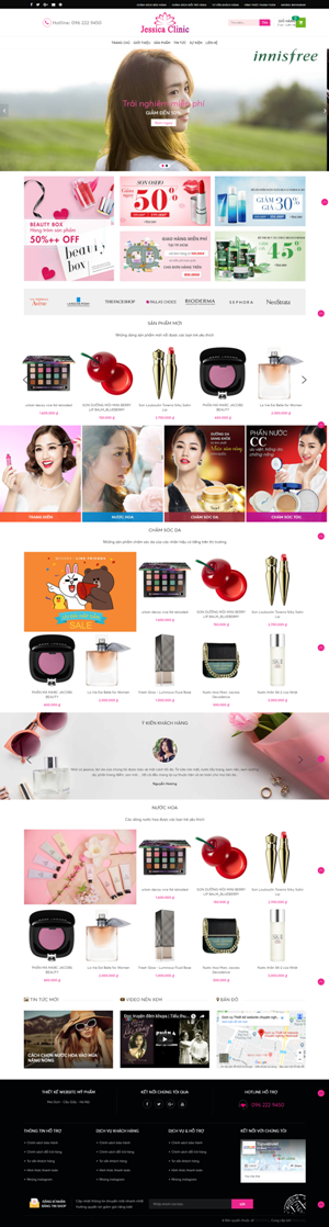 Mẫu giao diện website mỹ phẩm Jessica Clinic