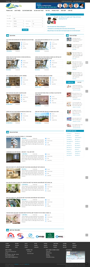 Mẫu giao diện websie bất động sản Địa ốc