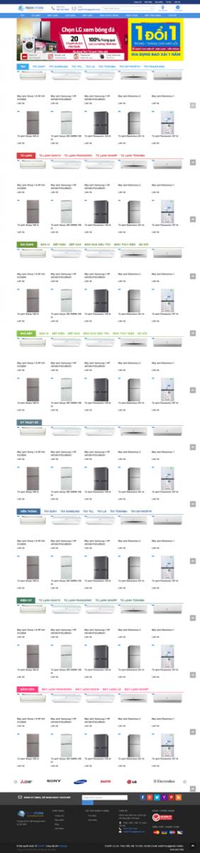 Mẫu giao diện website điện máy Tech Store