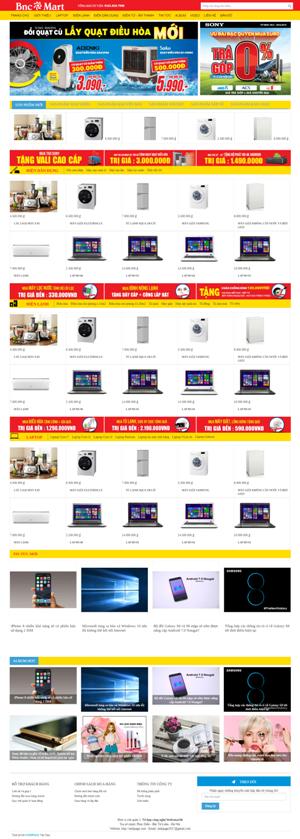 Mẫu giao diện website điện máy Omart