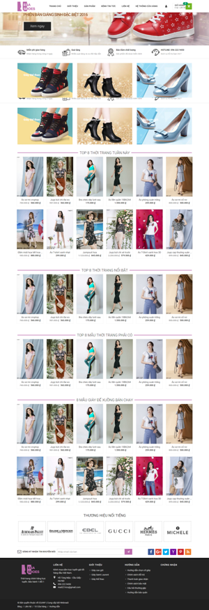 Mẫu giao diện website thời trang Ega Shoes