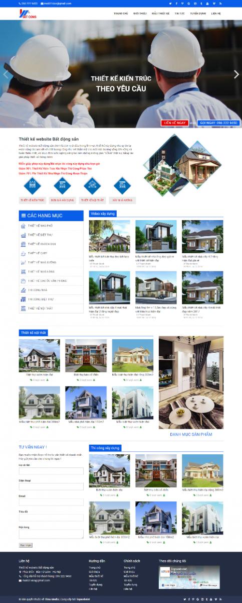 Mẫu giao diện website bất động sản SKTCONS