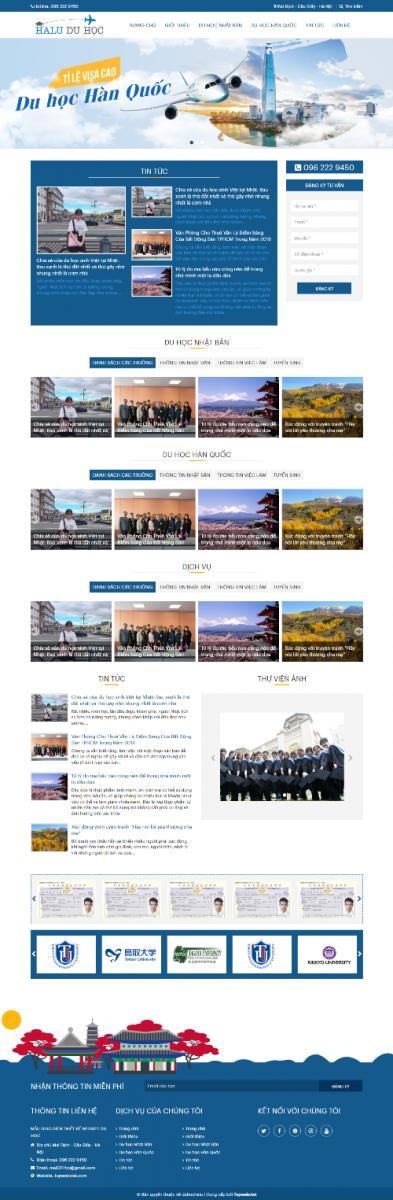 Mẫu giao diện website du học Halu