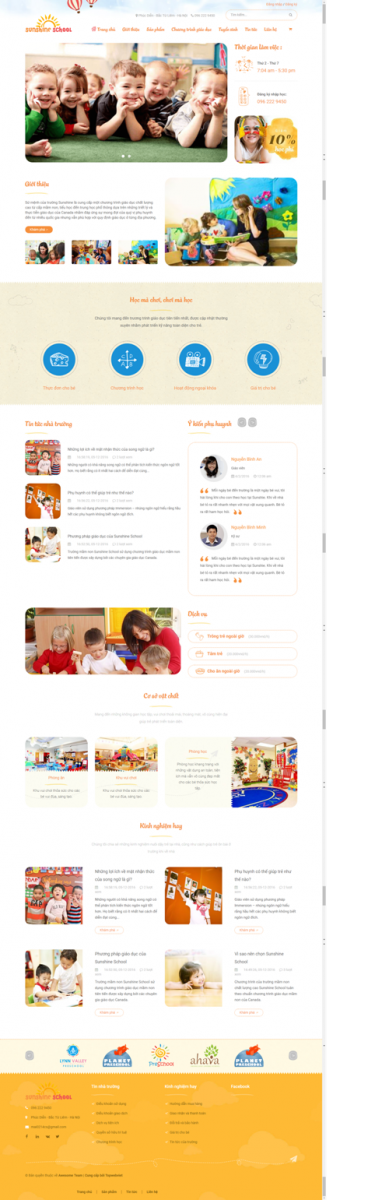 Mẫu giao diện website dạy trẻ Sunshine