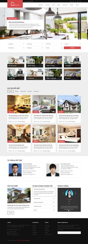 Mẫu giao diện website bất động sản Real Estate