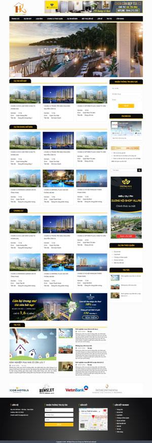 Mẫu giao diện website bất động sản Hoàng Kim Land
