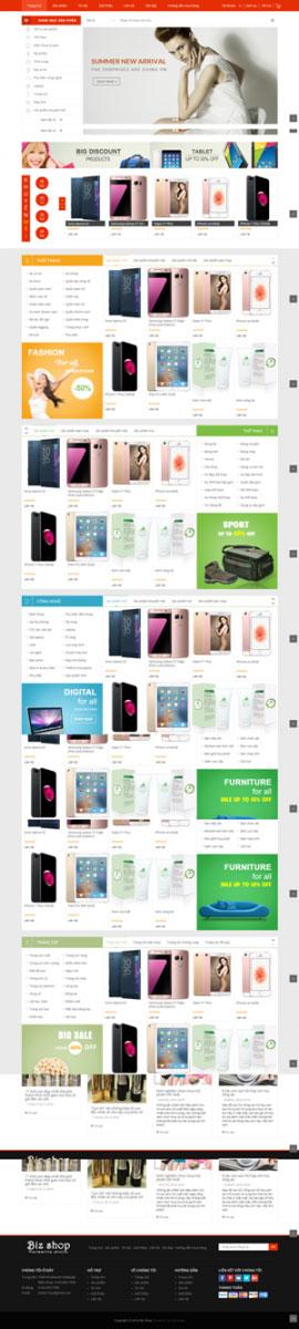 Mẫu giao diện website điện máy Bizshop