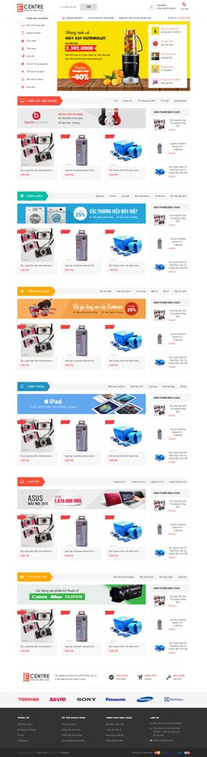 Mẫu giao diện website điện máy Ecentre