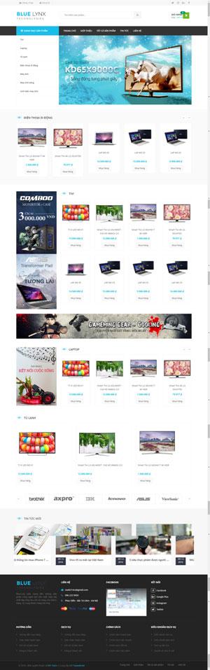 Mẫu giao diện website điện máy Blue Lynx