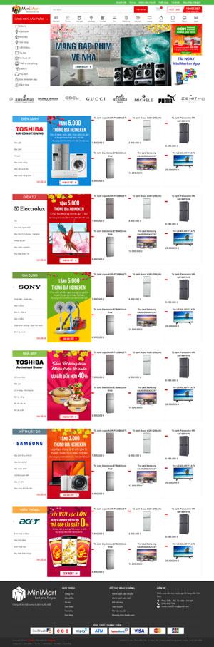 Mẫu giao diện website bán điện máy Mini Mart