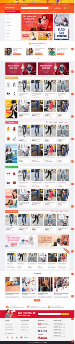 Mẫu giao diện website thời trang Amomo
