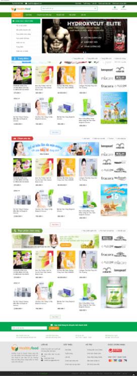 Mẫu giao diện website mỹ phẩm Healthy Food