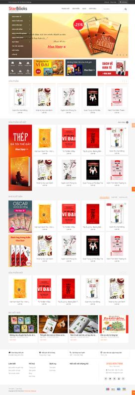 Mẫu giao diện website bán sách Star Books