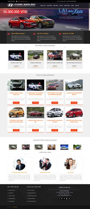 Mẫu giao diện website bán ô tô Hyundai Quảng Bình