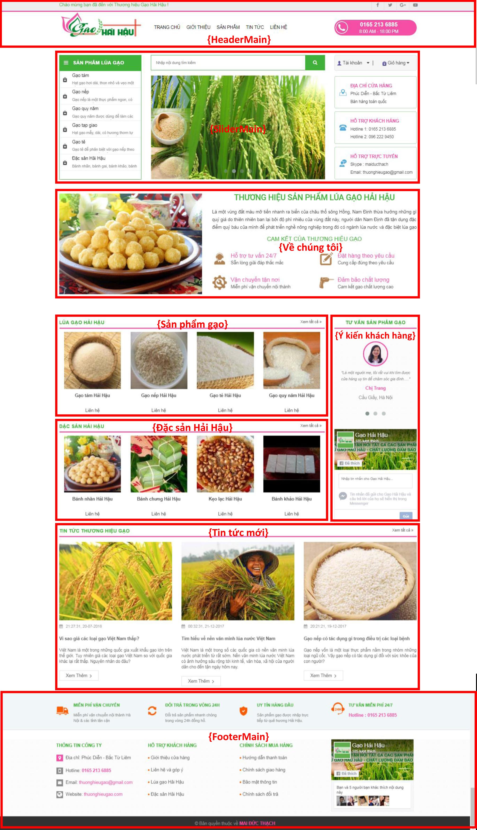 Giao diện website thương hiệu gạo